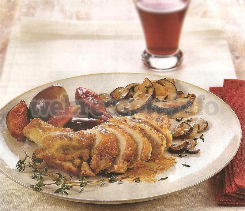 Курица с инжиром и белыми грибами