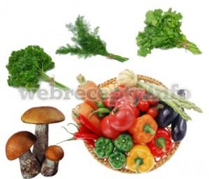 Грибы, овощи, зелень для супа