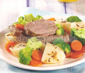Овощи с мясом на пару